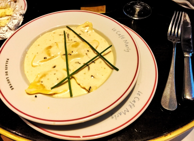 truffle cream ravioli from le cafe marly
